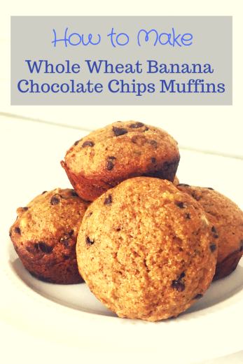 whole wheat banana chocolate chips muffins